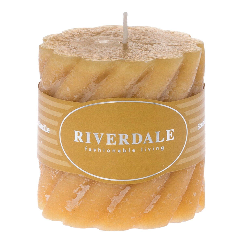 Riverdale Kaars Swirl mosterd 7.5x7.5cm