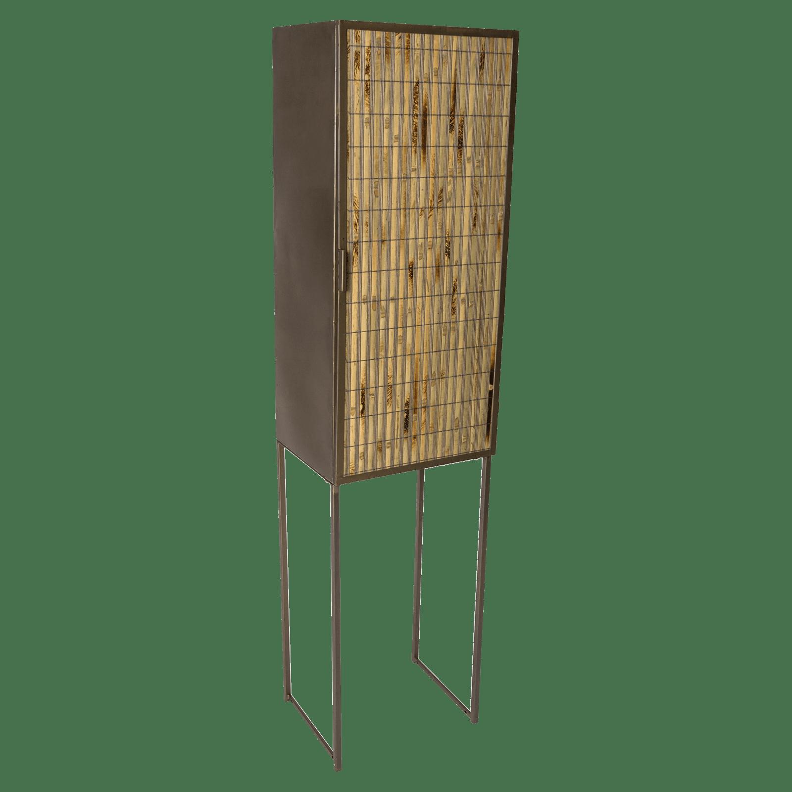 PTMD Opbergkast Metal Bamboo 1 Deur 160 x 40 x 53,5