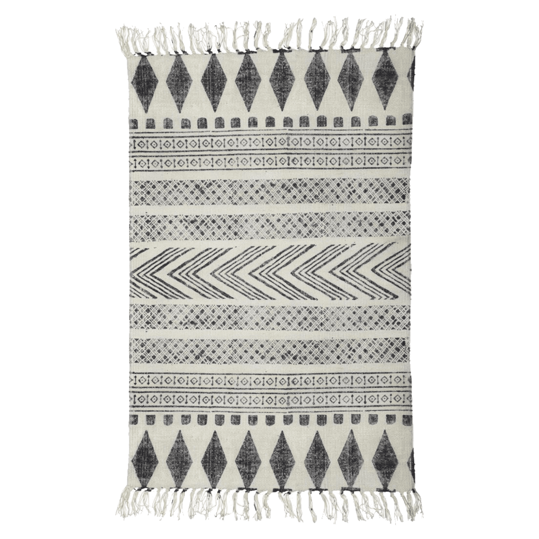 House Doctor Block Vloerkleed Zwart-Wit 60 x 90 cm