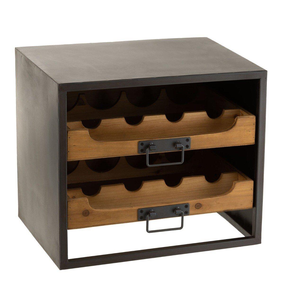 J-Line Wijnkast wijnflessen Metaal Hout 38 x 43,5 x 35 cm