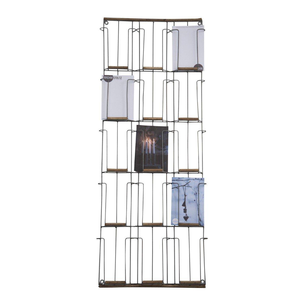 Madam Stoltz kaartenrek oudgoud met hout 97 x 31