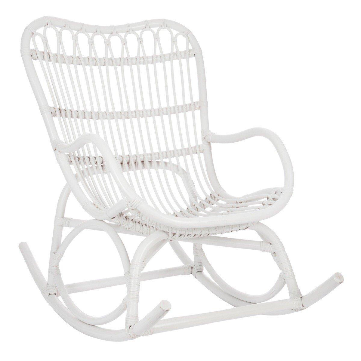 J-Line schommelstoel scandi rotan wit 93 x 66 x 110