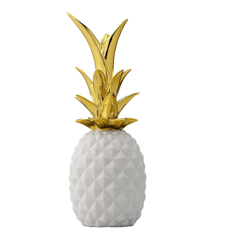 Bloomingville Ornament Ananas 24 cm Wit-Goud