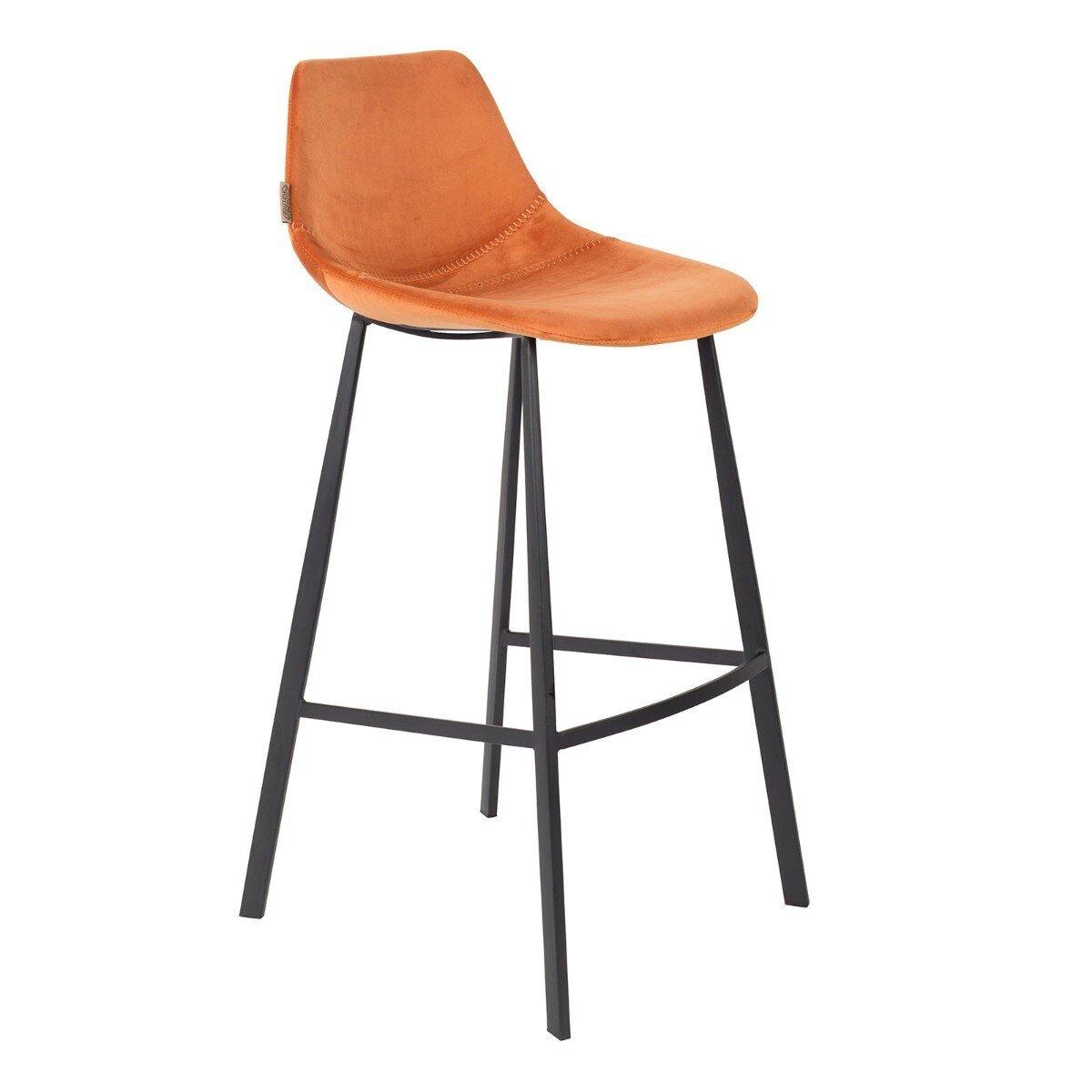 Barstoel Franky velvet oranje
