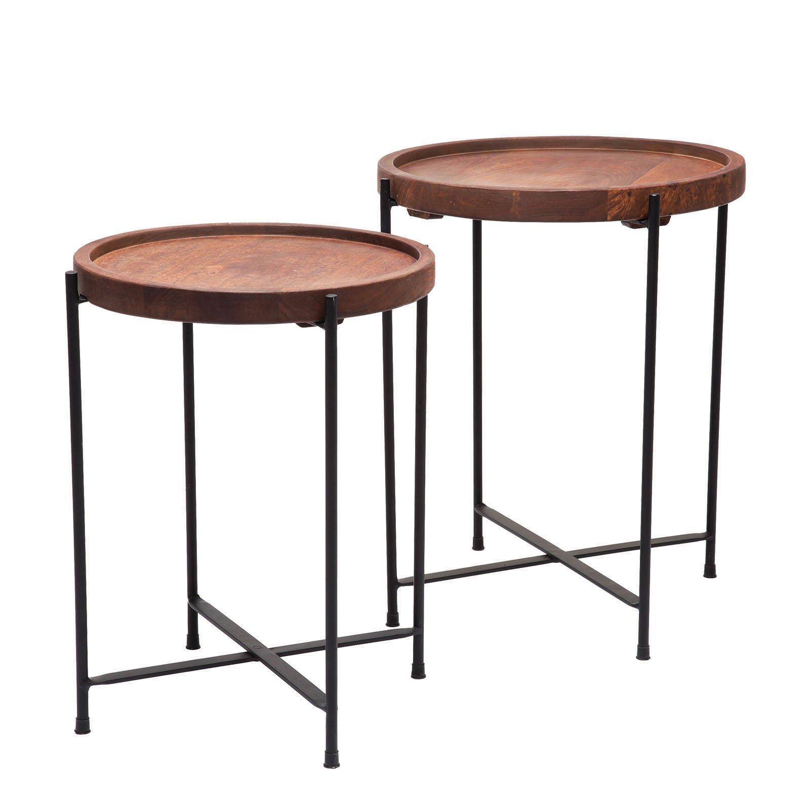 Kare Design Bijzettafel set hout staal 45 x 40 x 40