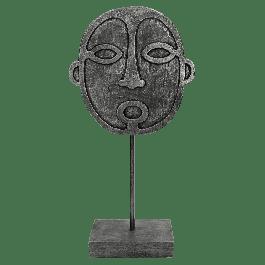 Ornament Face Polyresin Zwart 19.5 X 10 X 40