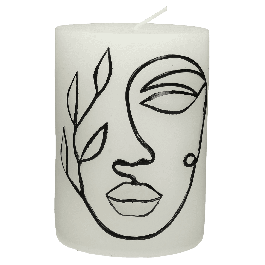 Kaars Face Wit 10 x 7,5 x 7,5