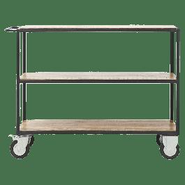 Trolley Zwart / hout 98 X 40 X 130