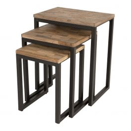 bijzettafel livv set van 3 hout