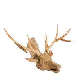 Dierenkop reindeer teak wood natural wide 37x56x38 - 674784 PTMD - www.wantsandneeds.nl
