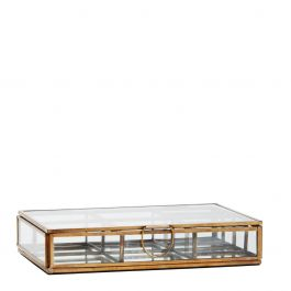 box met 8 vakken glas antiek brass 4 x 20,5 x 14