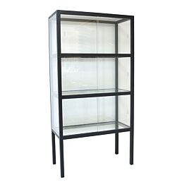 vitrinekast glas hout zwart - HKliving - www.wantsandneeds.nl - FUR0012