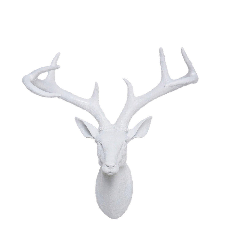 Kare Design Dierenkop Hertengewei wit 45 x 40 x 20