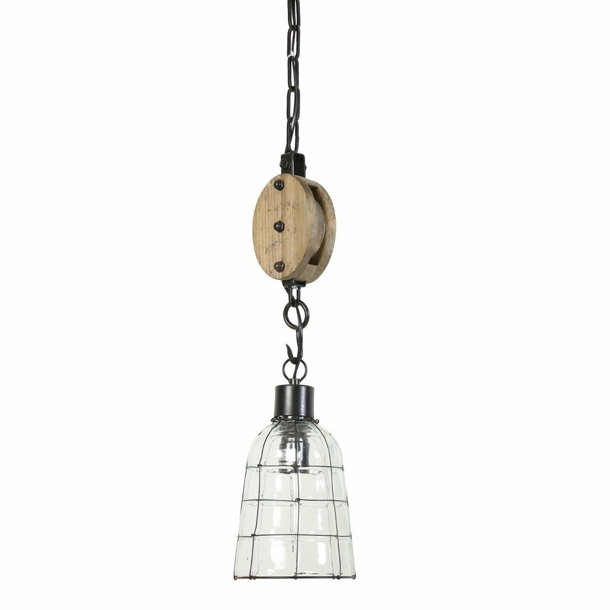 Hanglamp Jente dia: 15cm glas metaal met katrol Light & Living