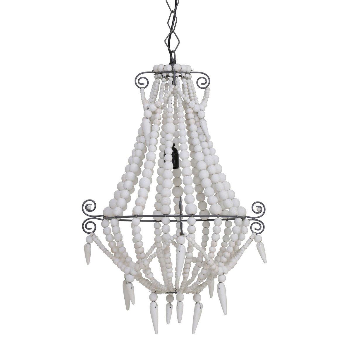 Light&Living Hanglamp Lyna kralen hout wit 56 x �42