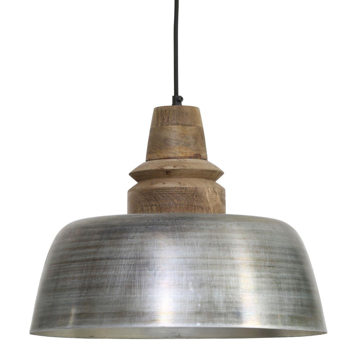 Light&Living Hanglamp Margo zilver-hout weather barn 33 x �40
