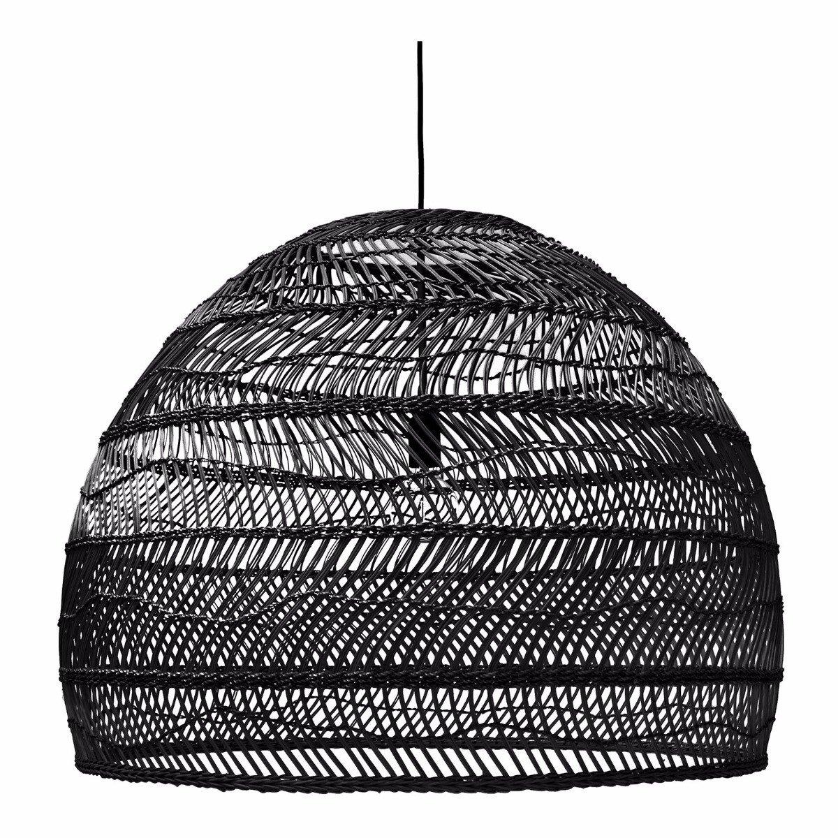 HKliving hanglamp riet zwart 60xØ80cm