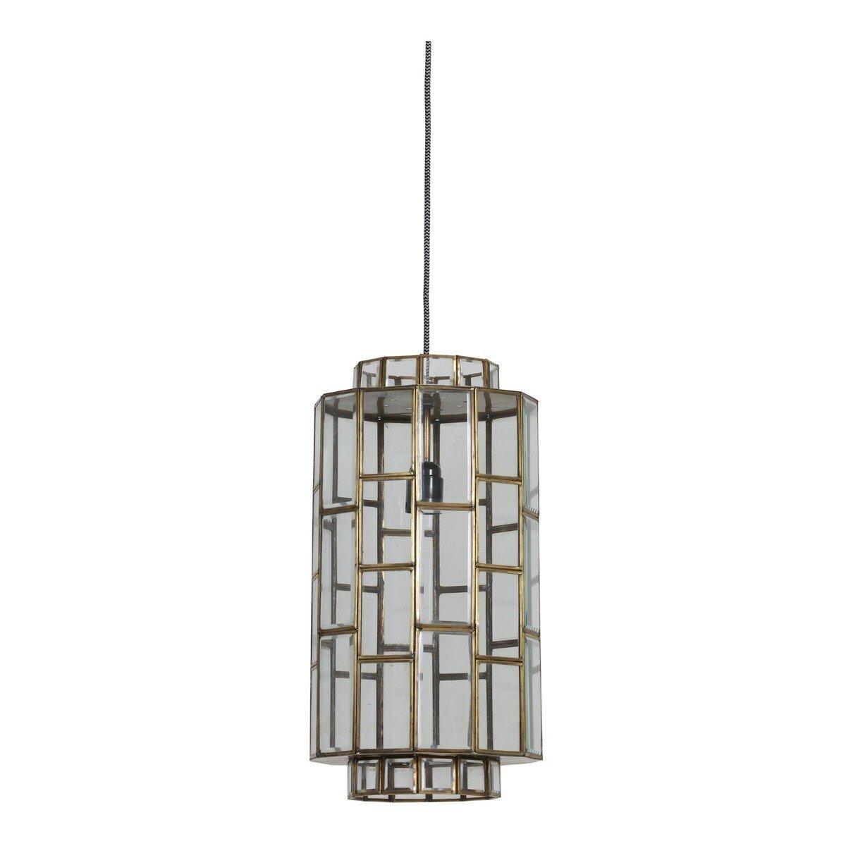 Hanglamp Sostrene �24x45 cm antiek brons+glas Light & Living