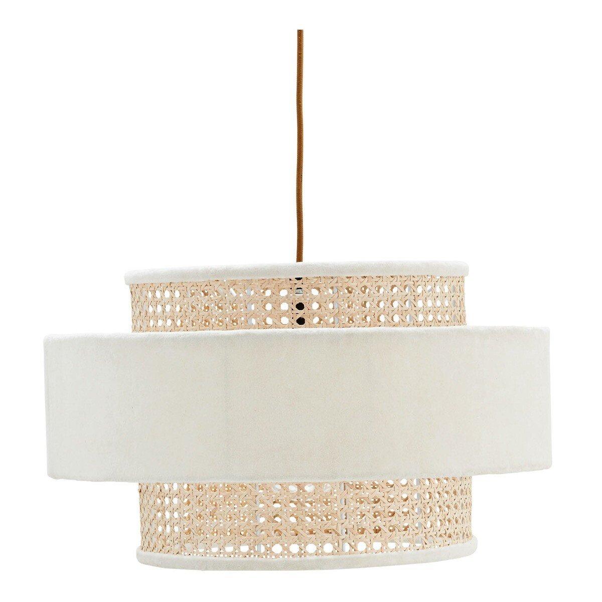 Madam Stoltz hanglamp velvet/bamboe wit/naturel 25 x � 45
