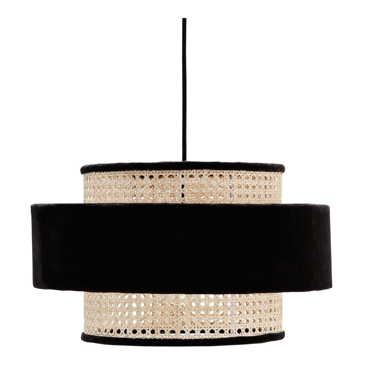 Madam Stoltz hanglamp velvet/bamboe zwart/naturel 25 x � 45