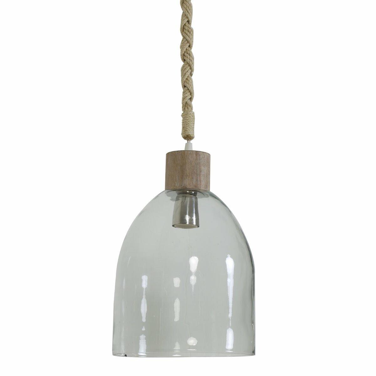 Hanglamp Zaya glas-hout