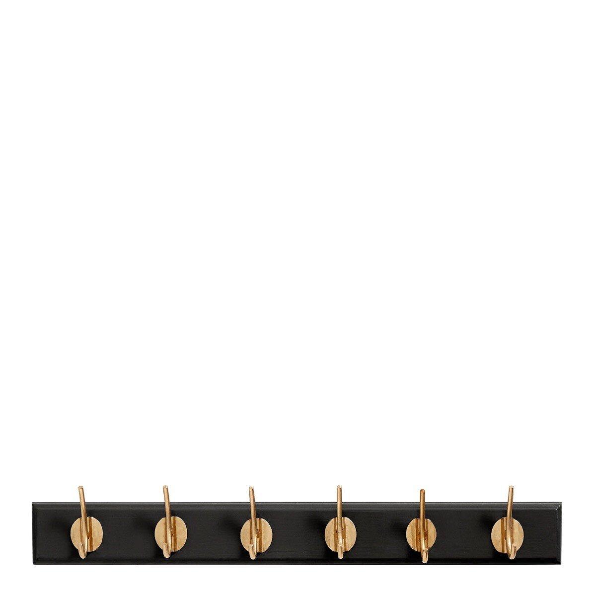 Nordal Kapstok 6 haken mat zwart 6,5 x 60 x 7
