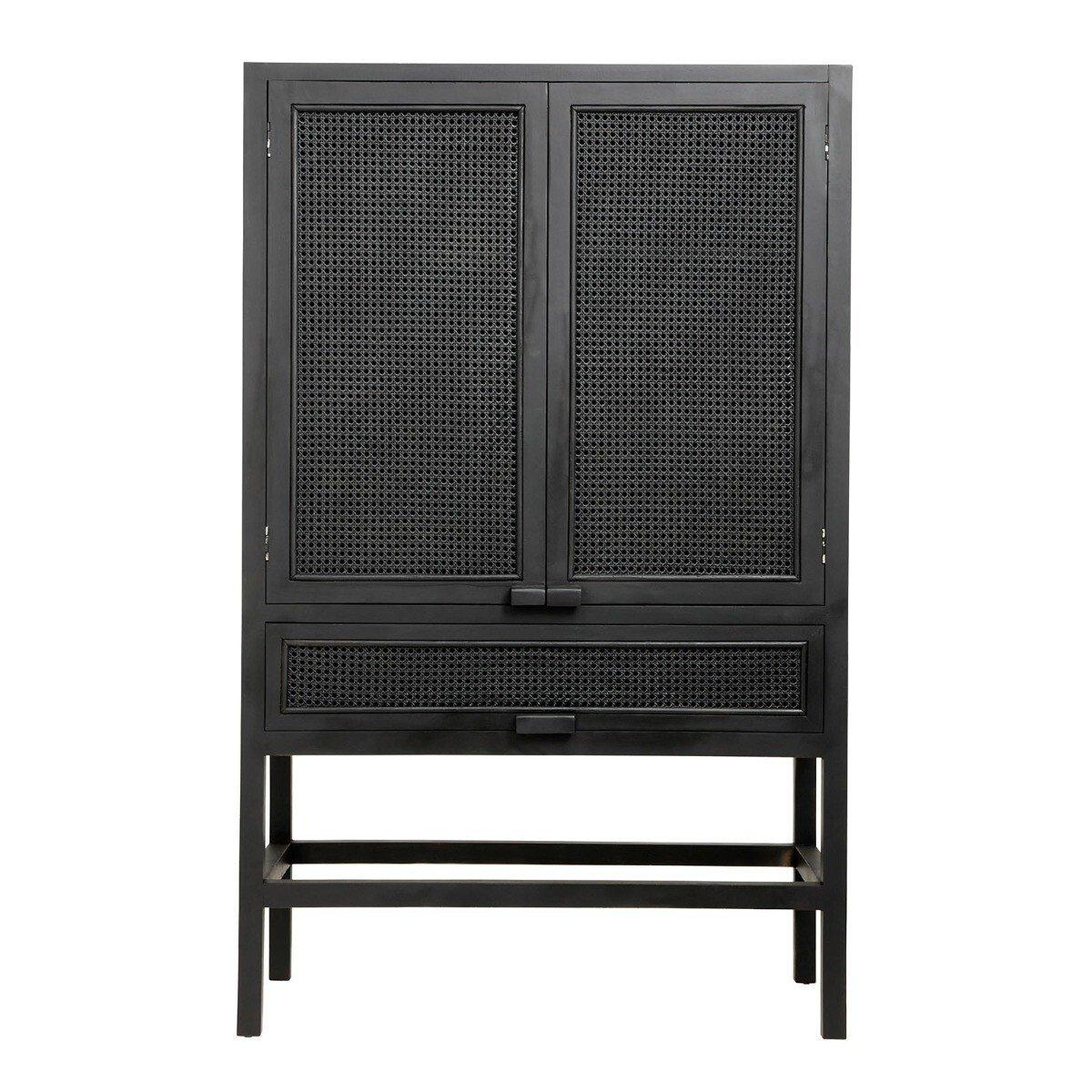 Nordal Opbergkast teakhout zwart 160 x 100 x 50