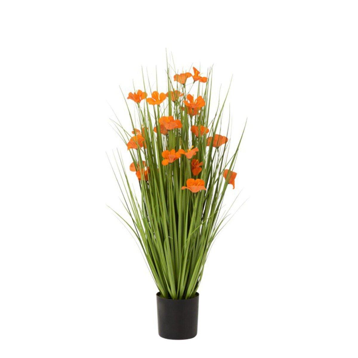 J-Line kunstplant gras en bloemen oranje s 80 x 35 x 35