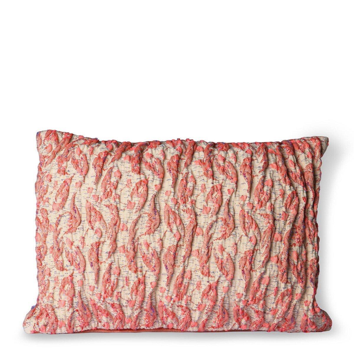 HKliving Kussen Floral Jacquard weave Rood Roze 30 x 40