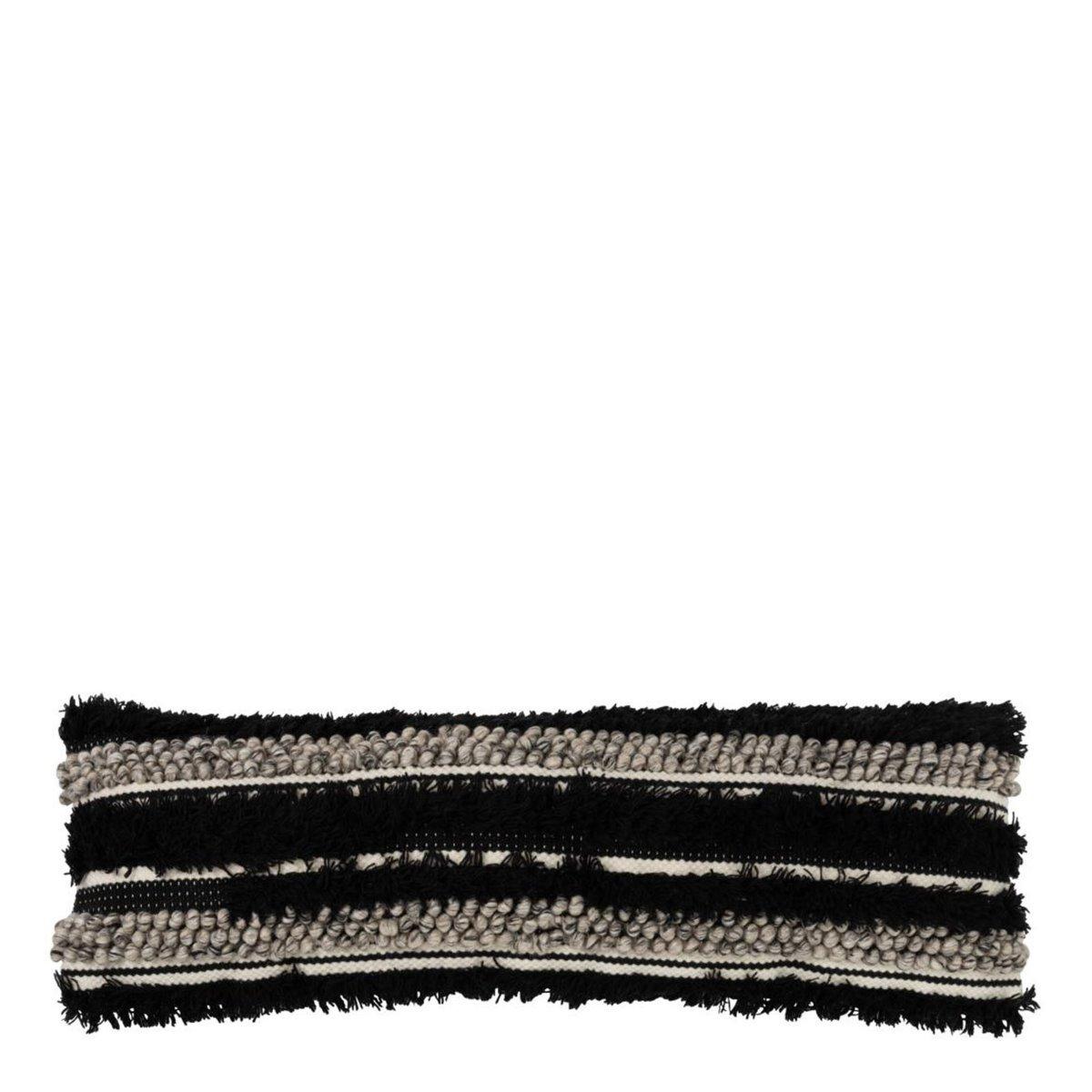 J-Line kussen fluffy wol zwart wit 8 x 100 x 31