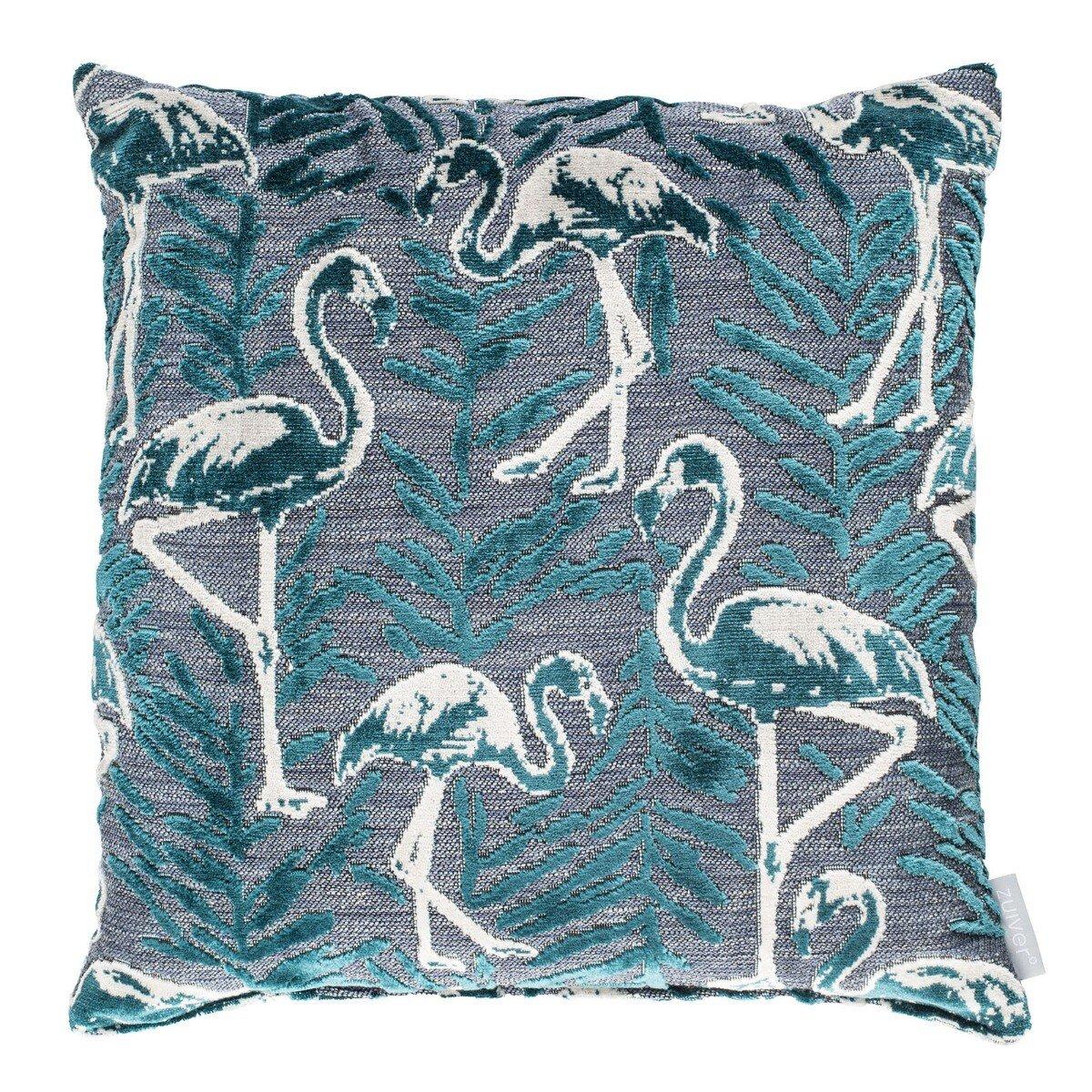 Zuiver kussen Kylie Flamingo Petrol blauw 45 x 45