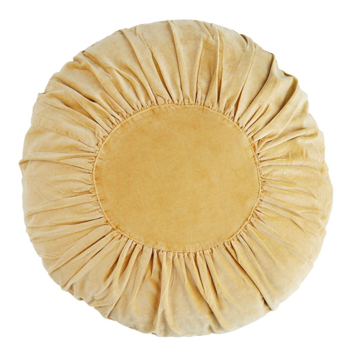 Madam Stoltz kussen light mustard round velvet � 45