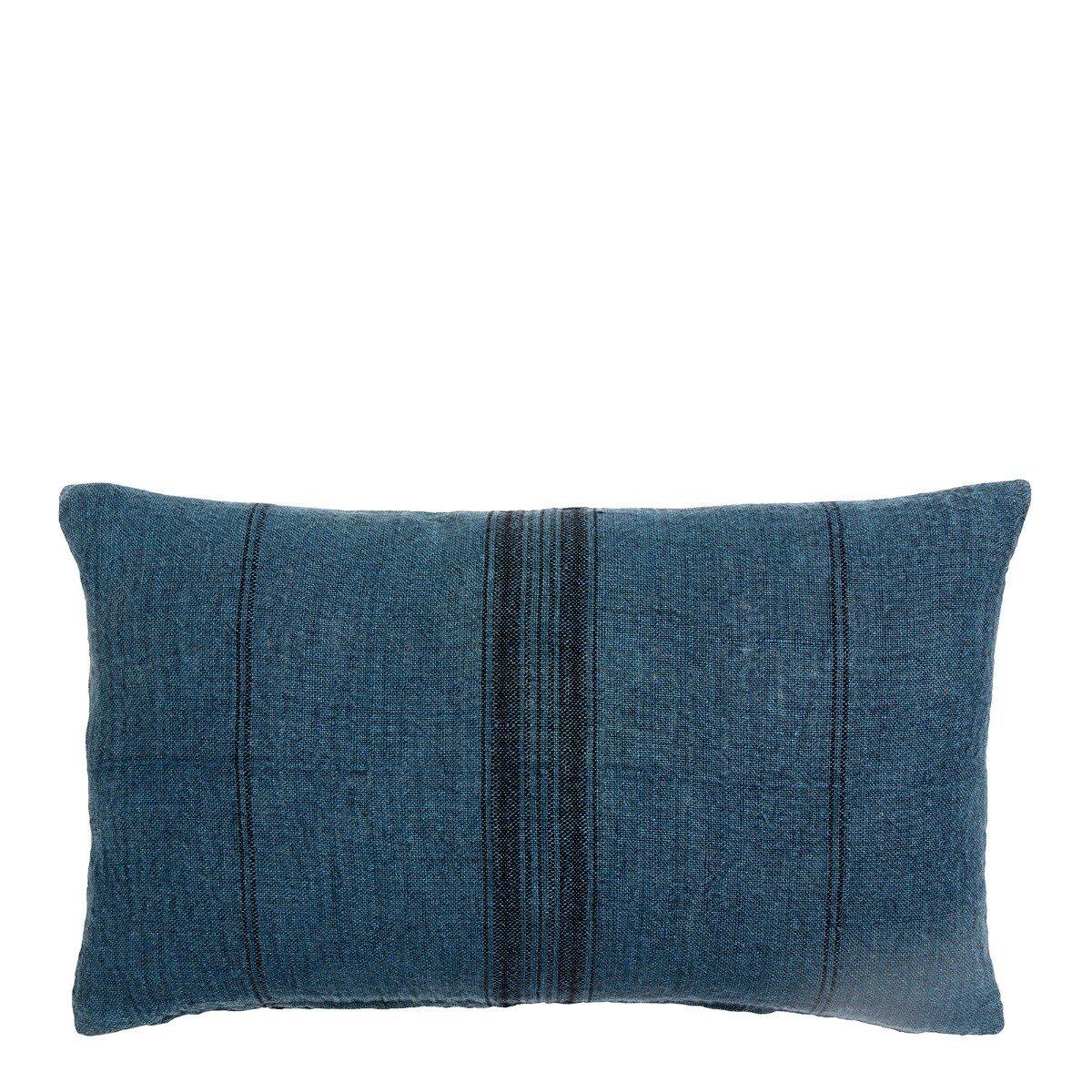 Nordal kussenhoes gestreept linnen blauw/zwart 40 x 65