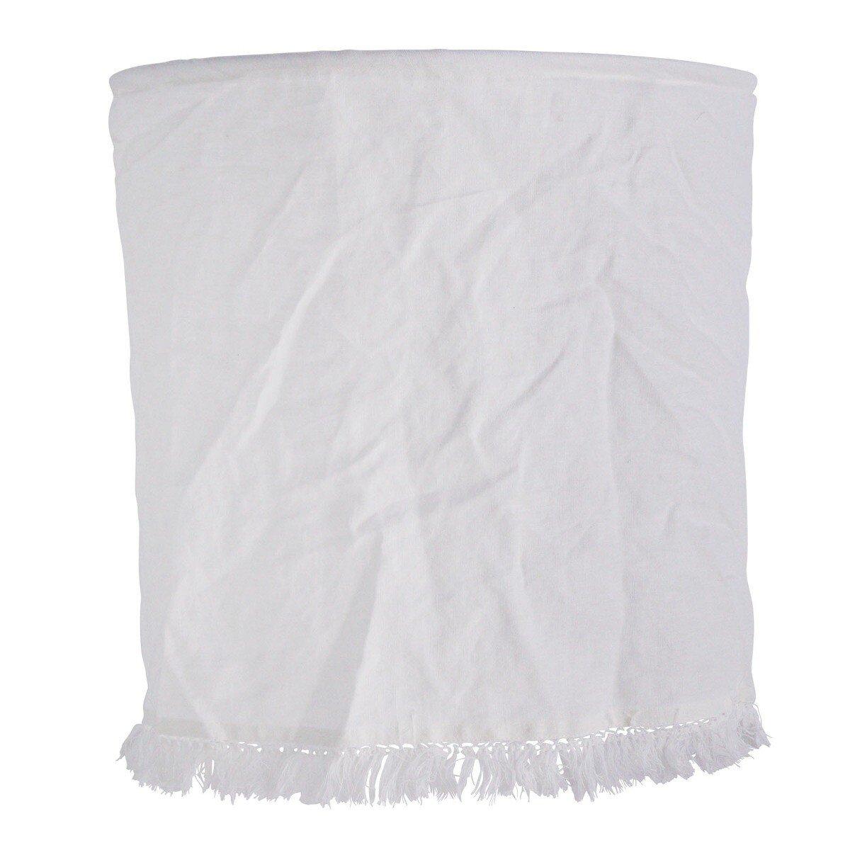 Madam Stoltz lampenkap met franjes linnen gebroken wit 45 x � 45