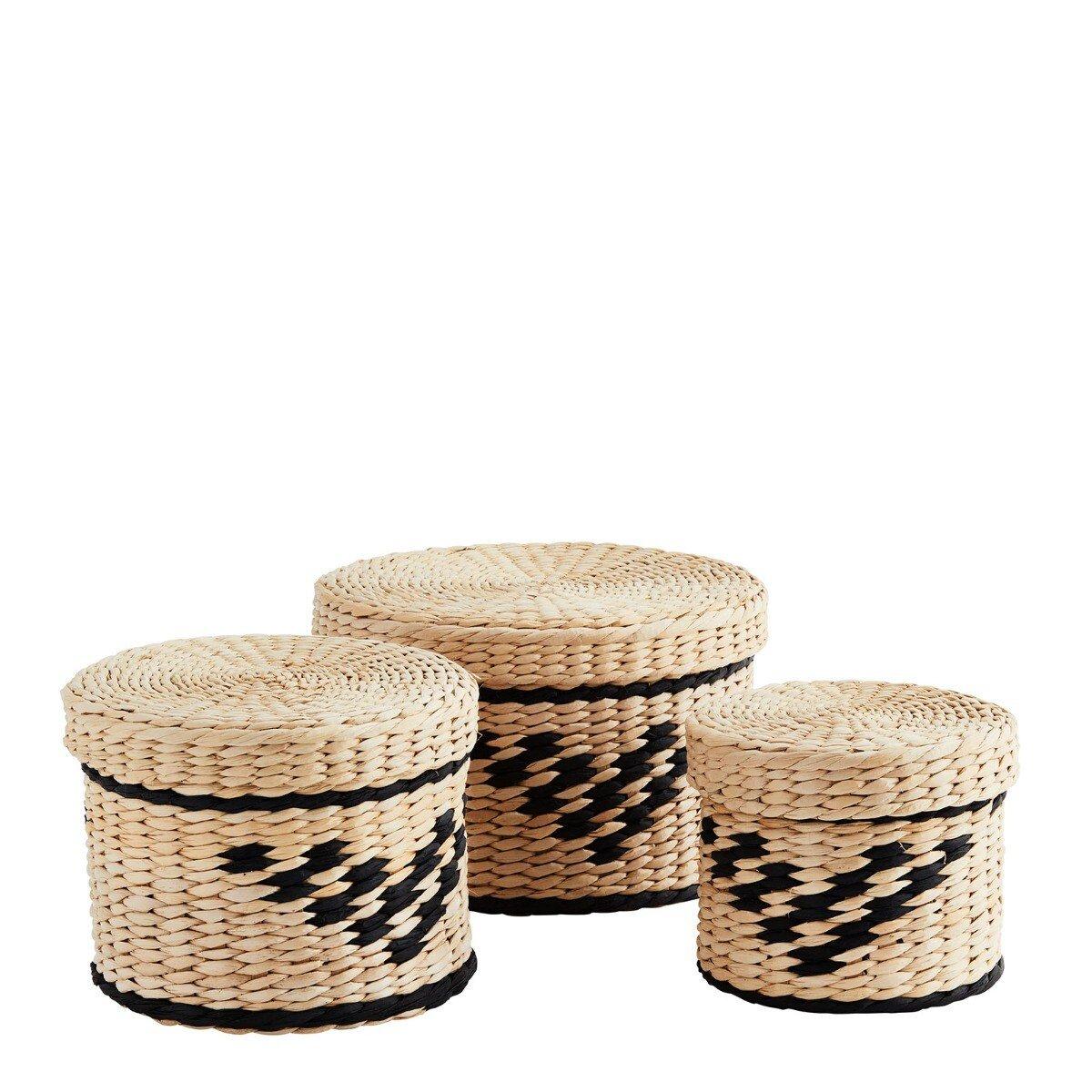 Madam Stoltz manden set bamboo naturel/zwart 19 x � 28