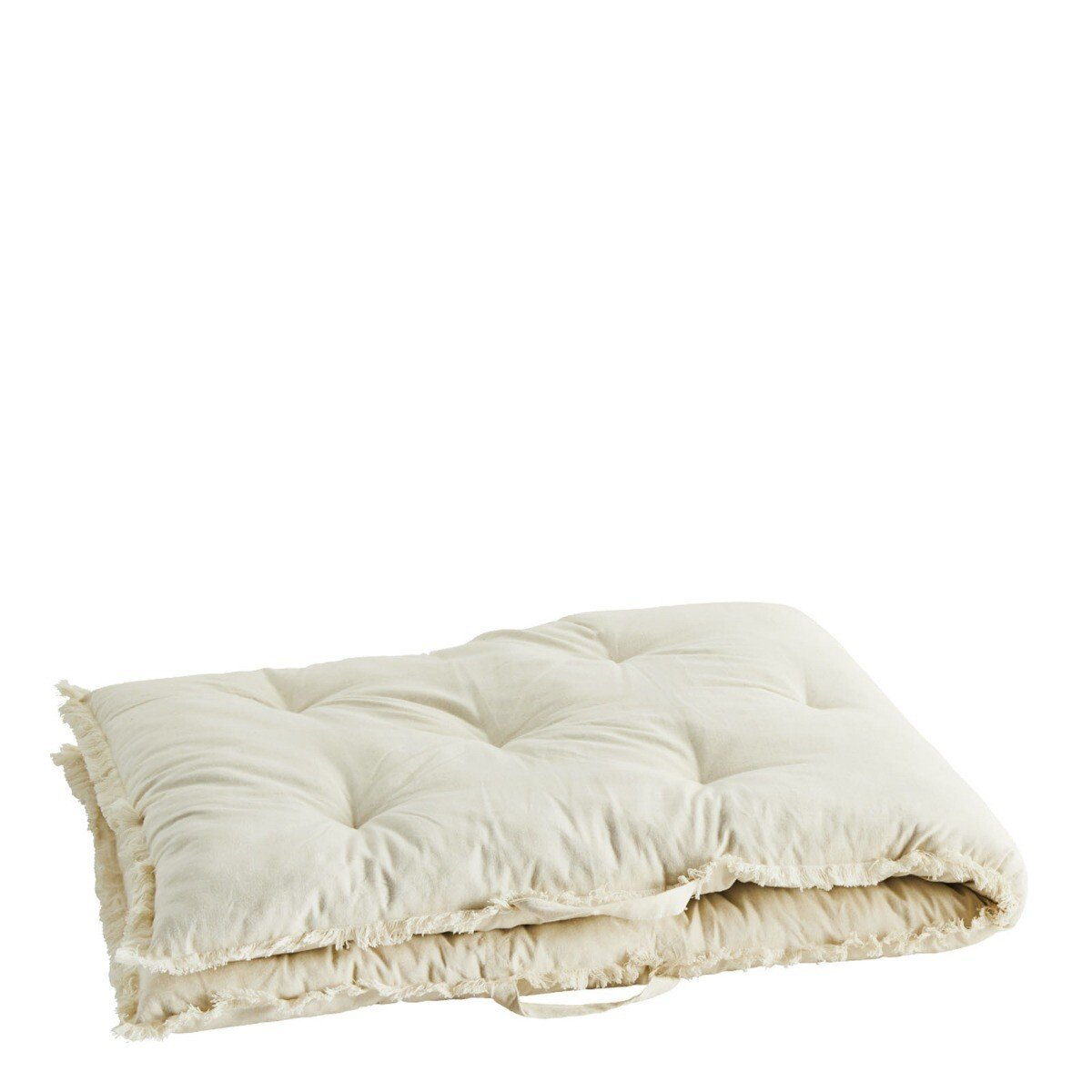 Madam Stoltz kussen matras fringes off white 180 x 70