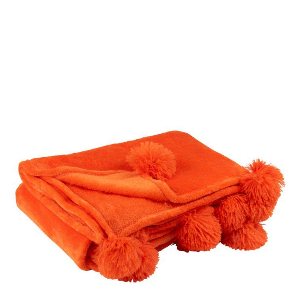 J-Line Plaid Pompom Polyester Fel Oranje 170 x130