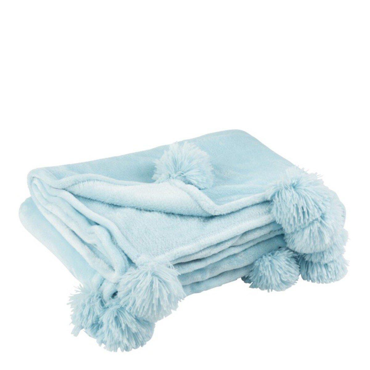 J-Line Plaid Pompom Polyester Hemelsblauw 170 x 130