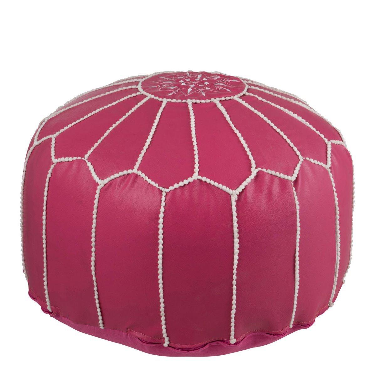 J-Line poef african textiel roze 35 x 50 x 50