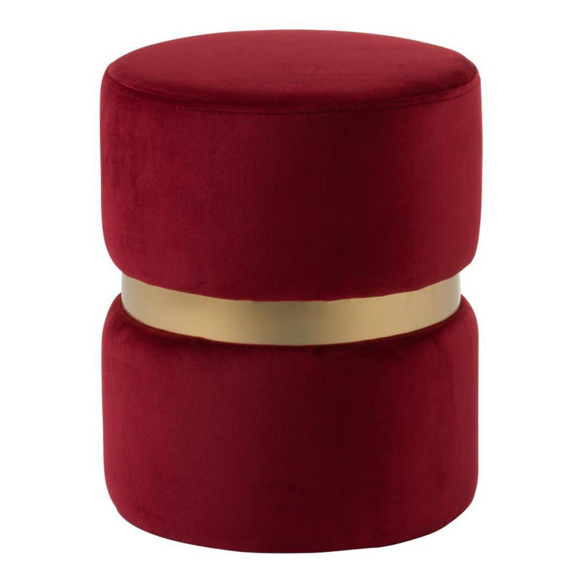 J-Line poef velours textiel rood goud 38 x 30 x 30