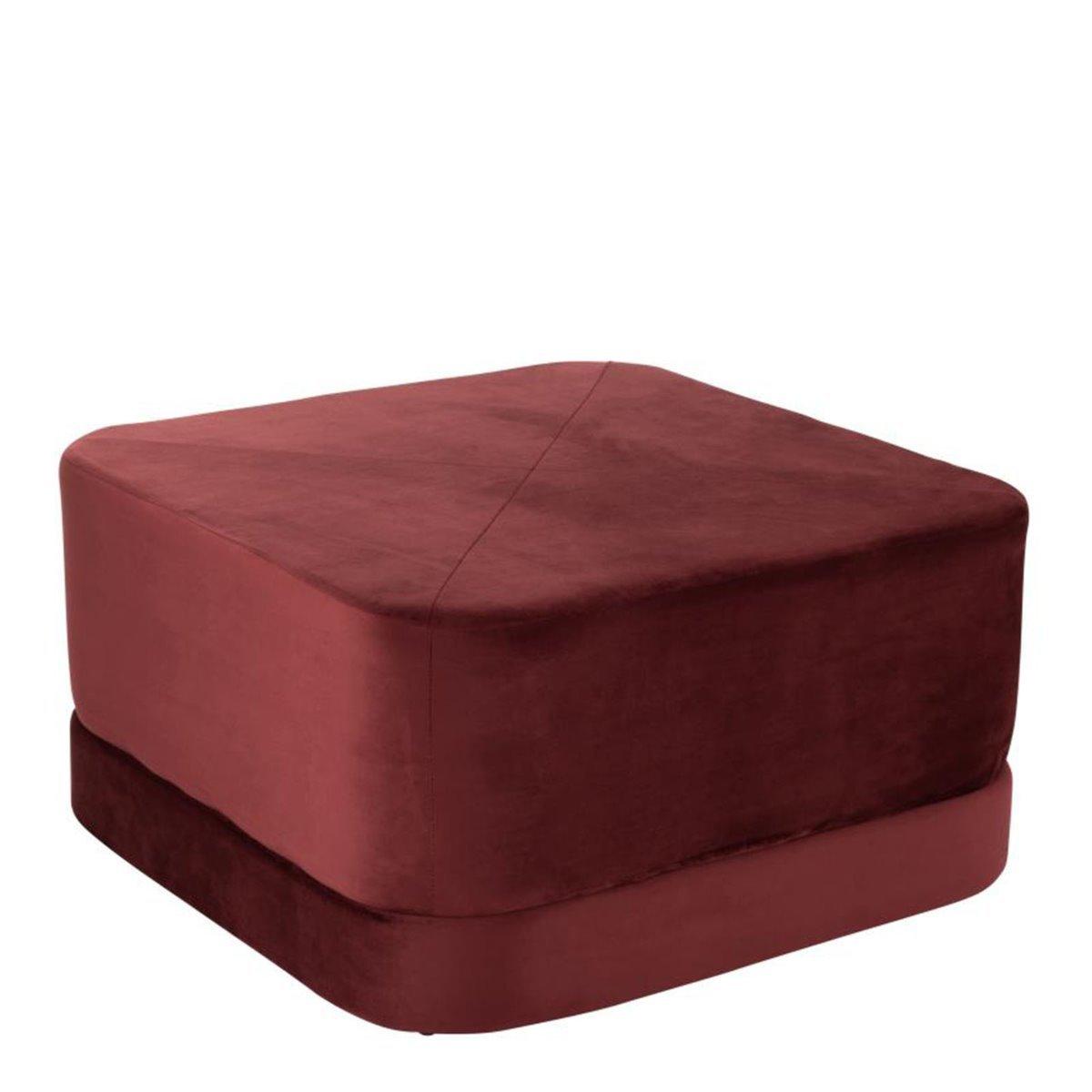 J-Line poef vierkant velvet textiel rood l 35 x 65 x 65