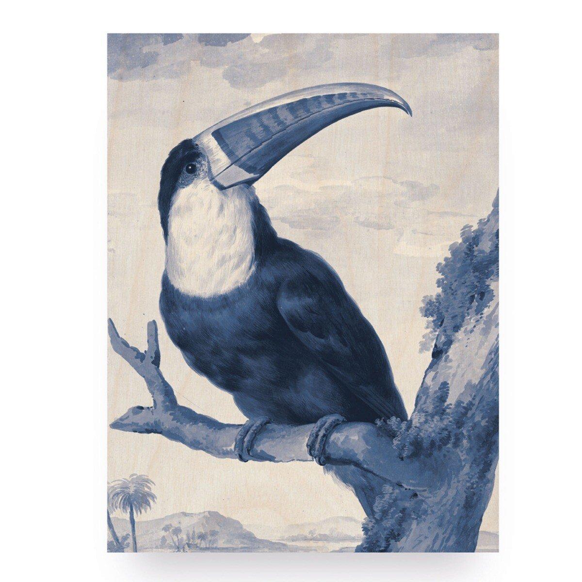 KEK Amsterdam Houten Print Muurdecoratie Royal Blue Tucan S 45x60 cm