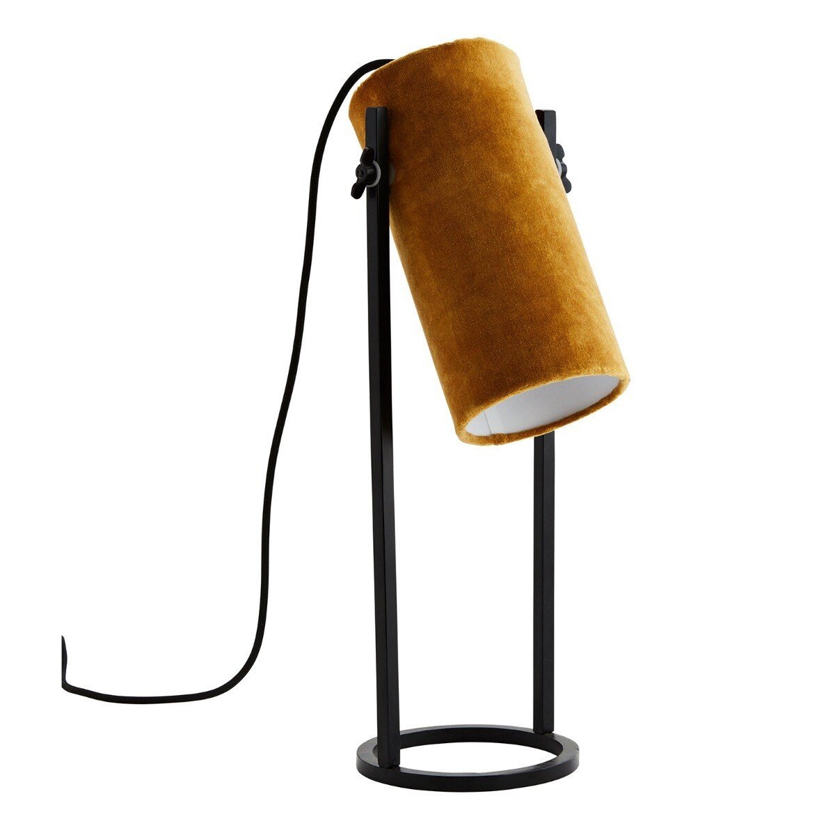 Madam Stoltz tafellamp velvet geel/zwart 50 x 25 x 15