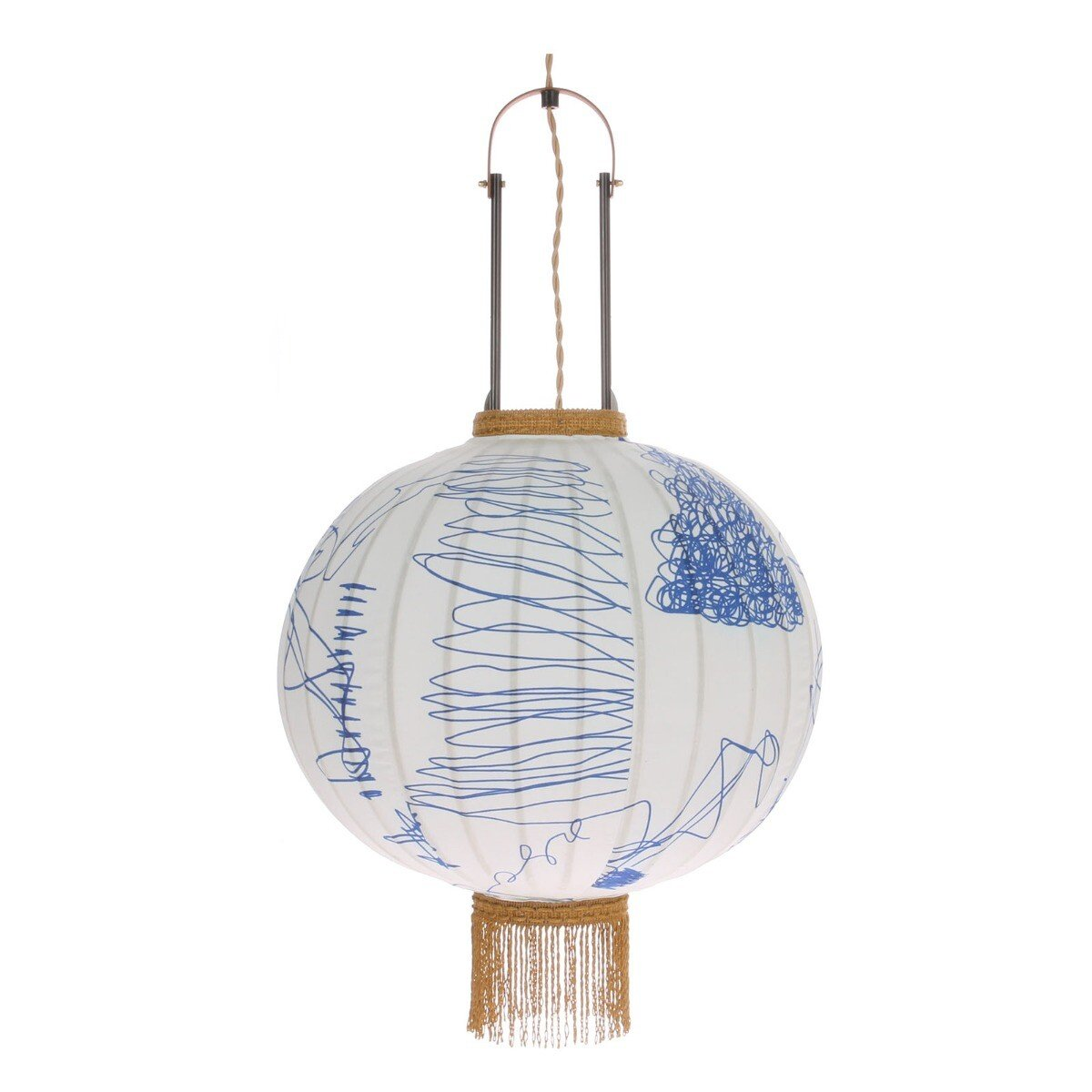 HKliving hanglamp Taiwanese lantaarn bamboe wit-blauw 51 x �38