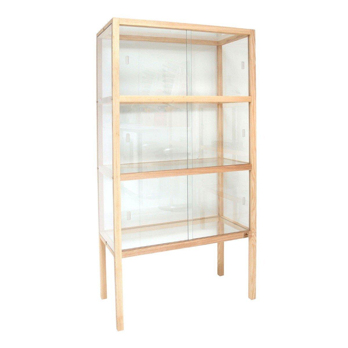 HKliving vitrinekast glas hout 148 x 75 x 36