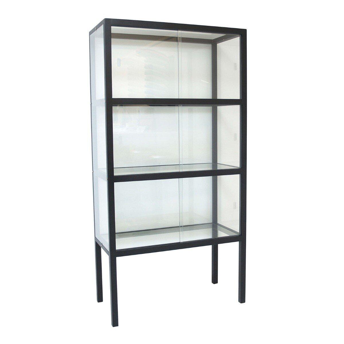 HKliving vitrinekast glas hout zwart 148 x 75 x 36