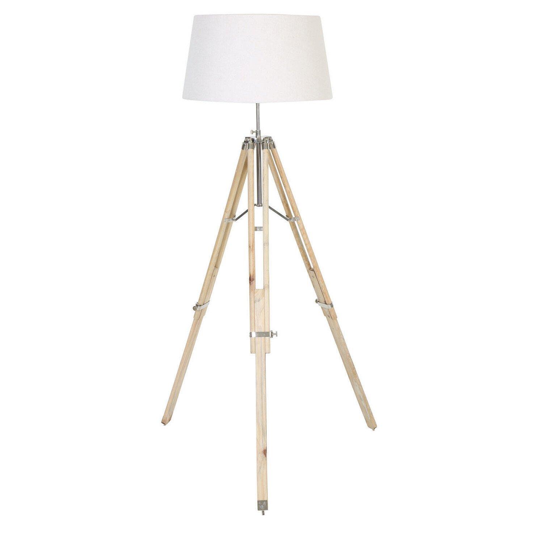 Light&Living Vloerlamp Matisse Naturel wood met witte kap