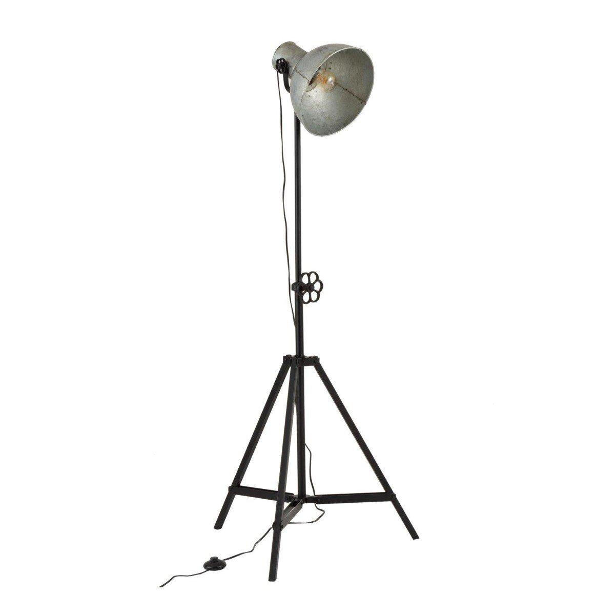 J-Line Vloerlamp Verstelbaar Industrieel Ijzer Zwart 160 x 69 x 60