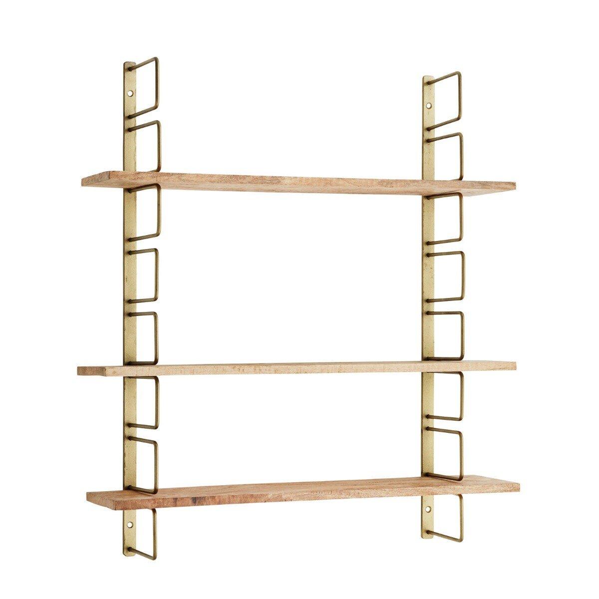 Madam Stoltz wandrek met houten planken antiek brass 74 x 64 x 13
